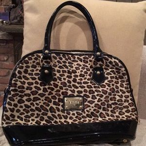 Valentina Patent Leather Calf Hair Leopard Bag